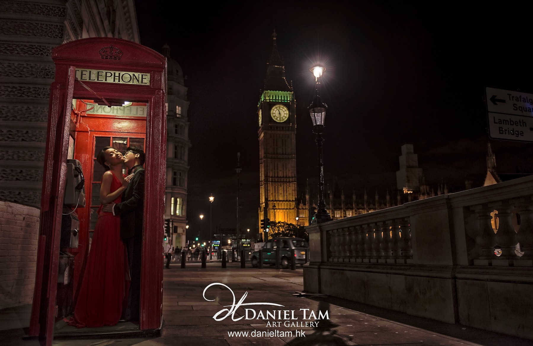 Love in London with London Signature - Red Telephone Box and Big Ben