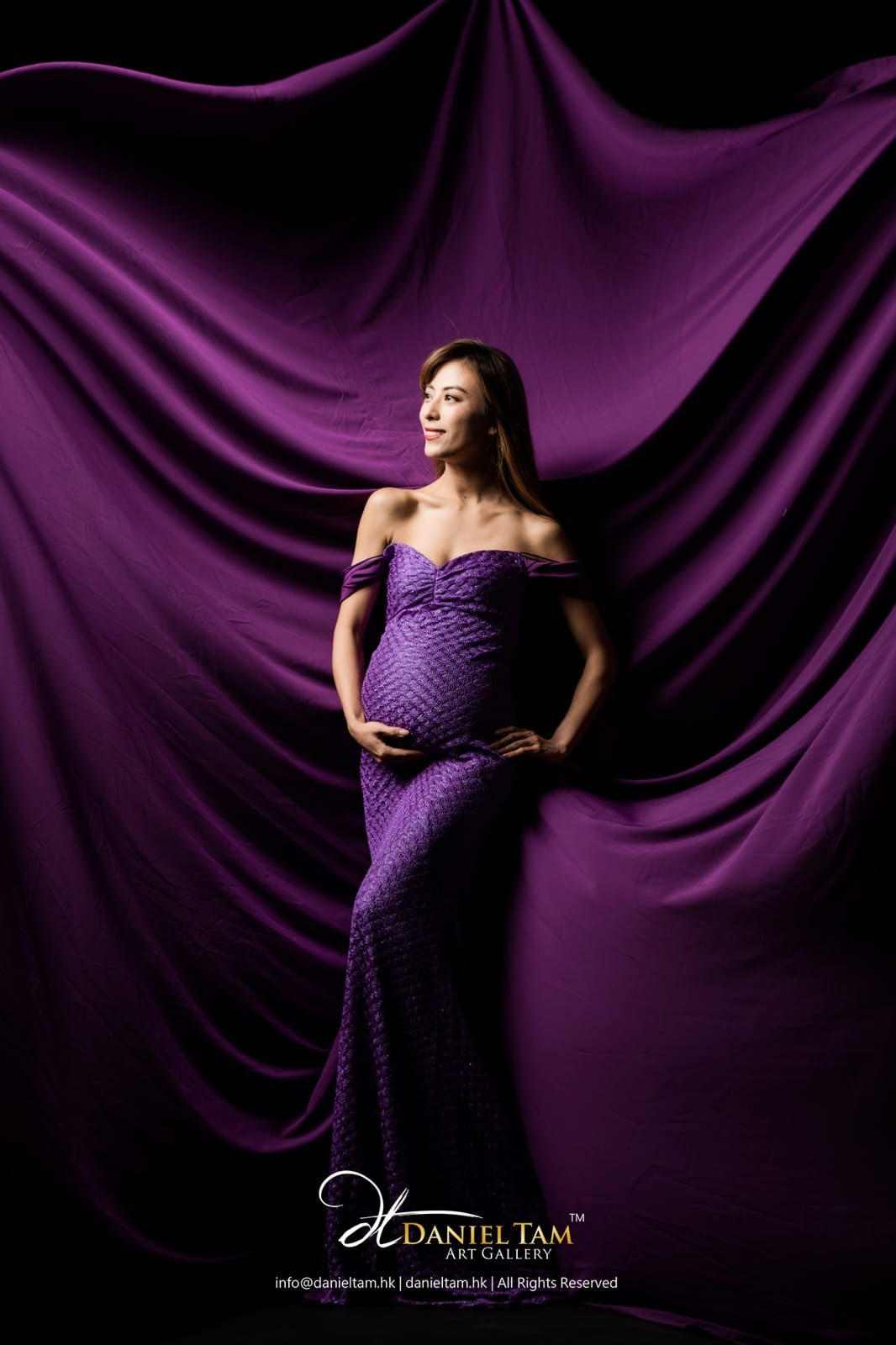 maternity gown in purple 1534