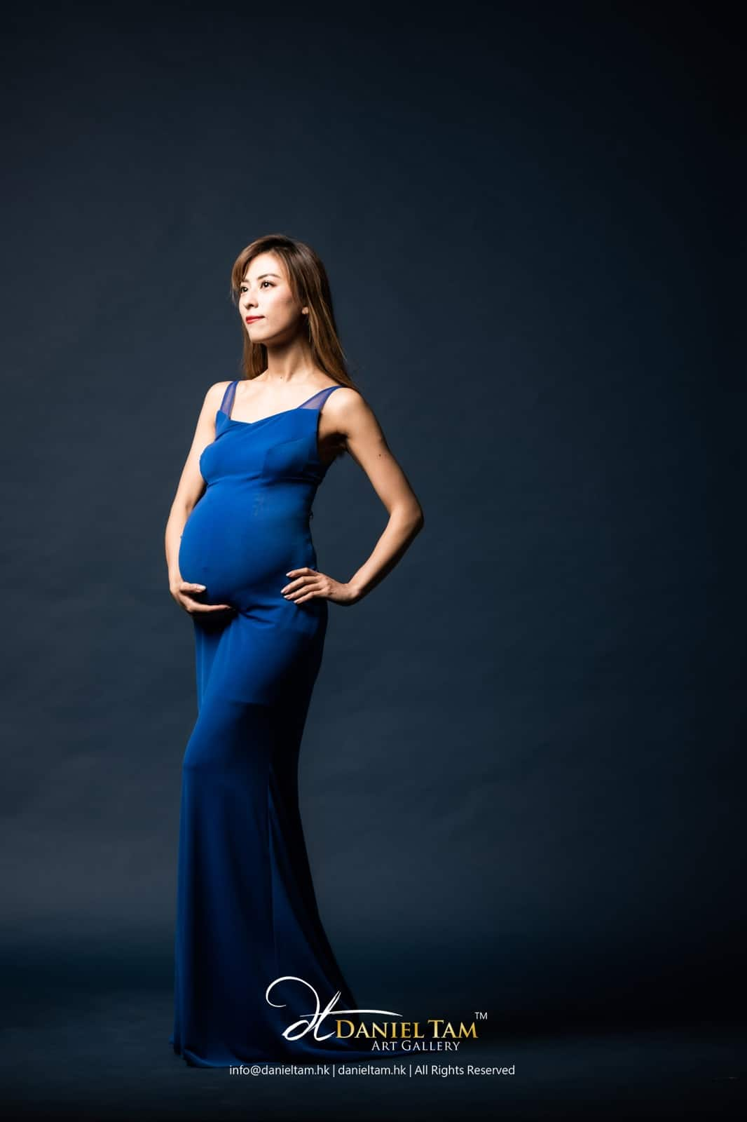 blue maternity gown 89345798347